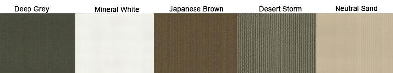 Buitengordijn HDPE kleuren