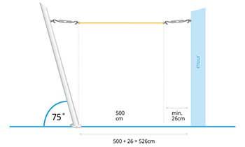schaduwdoek coolsail pro montage tussen schuine paal en muur