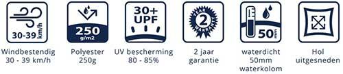 coolsail pro schaduwdoek waterdicht 250 g/m2