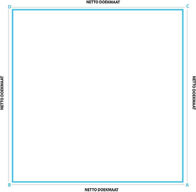 schaduwdoek vierkant op maat met rechte zijden